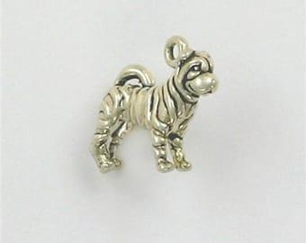 Sterling Silver 3-D Sharpei Dog Charm