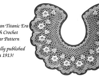 1913 Vintage Irish Crochet Collar Roses Leaves Pattern Edwardian Gibson Girls Titanic Era Needlework 2
