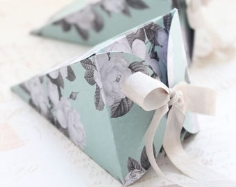 Set/5 Floral Gift Boxes, Paper Cone Gift Boxes, Tussle Mussie Gift Boxes
