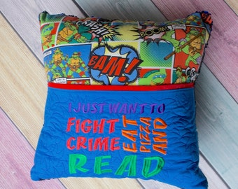 Fight Crime and Read... Mermaid Sequin Pillow