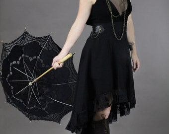 High Wasited Black Steampunk Skirt - Steam Punk Gothic Victorian Skirt
