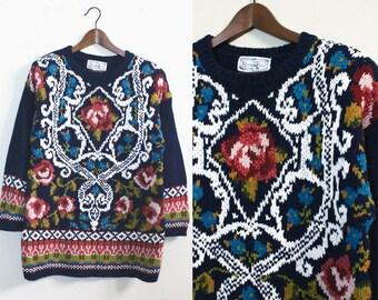 Oversized Navy Sweater with Floral Filagree / Vintage Floral Jumper