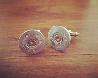 Bullet Cuff Links, Bullet Accessories, Ammo Accessories, Ammunition Accessories, Shotgun Cuff Links - Shotgun Rider Cuff Links-20 ga. Silver
