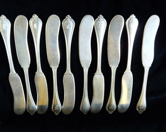 10 Solid Sterling Silver Butter Knives By Towle In The Old Newbury Pattern - Monogrammed F