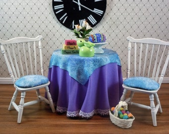 Dollhouse Miniature furniture in twelfth scale or 1:12 scale.  Skirted Easter table with 2 chairs.   Item #136.