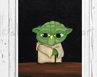 Star Wars print, Yoda, Star Wars fans, Kids decor, Office art, Owl decor, Owl gift