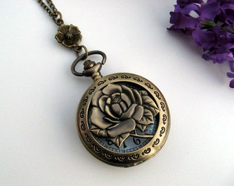 Antique Bronze Floral Pocket Watch Necklace - Flower Connector - Blossom - Rose - Victorian Chic