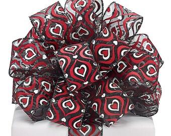 1.5 x 5 yards- Black Sheer Valentine print ribbon, Valentine ribbon, valentine ribbons, valentines day ribbon, Happy Valentines Day Ribbon