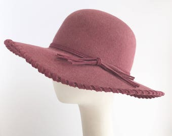 Bohemian Rose Felt Hat with Laced Brim