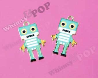 1 - Gold Tone Retro Blue Robot Nerd Geek Love Robot Charms, Robot Charm, 22mm x 14mm (3-2E)