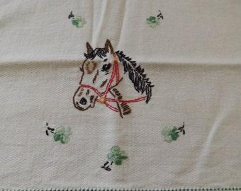 Embroidered Horse Tea Towel