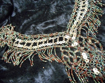 Antique Applique Multi Color Beaded with sequins, bead fringe and Heart Design (FFs1054)