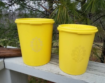 Tupperware Yellow Canisters with Scrollwork Pattern Set of 2