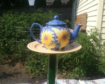 sunflower tea pot garden ornament bird feeder