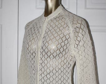 1960s Ivory White Crocheted Cardigan Sweater . Vintage 60s Lace Knit Semi Sheer Grannie Sweater . Size Medium