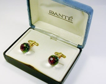 Vintage DANTE Cufflinks, gold tone, Watermelon, genuine Crystal, Ball Front, Man Wedding Jewelry / Men Gift / Formal Wear / Cuff Links