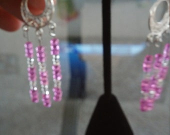 Pink and clear glass bead earings