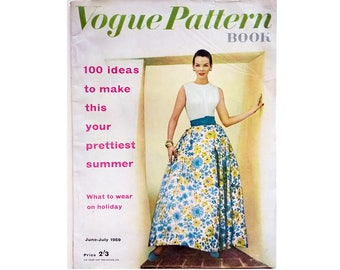 Vintage 50's Vogue Pattern Book Magazine Summer June July 1959