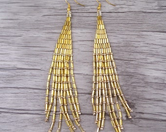 Gold Seed Bead Tassel Earrings Gold Earrings Long Earrings Seed Bead Earrings Bohemian Earrings Long Drop Earrings  Tassel Earrings ED-025