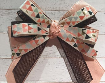 Peach Triangles Hairbow