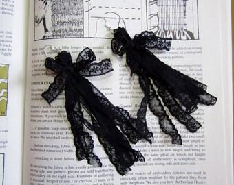 Black Lace Tassel Earrings