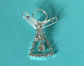 Vintage rhinestone angel pin, angel pin, angel brooch, rhinestone person pin, paperclip person pin, Christmas angel, angels, guardian angel