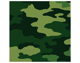 Army Napkins - Camo Napkins - Camouflage Party Decor - Camo Birthday Supplies - Hunting Party - Outdoor Party - Army Party - Hunting - Deer