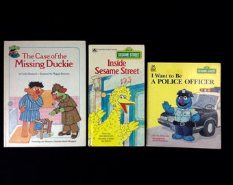 Sesame Street Book Lot of 3 - Inside Sesame St, Case of Missing Duckie, Want to Be Police Office  - Sesame Street Muppet Kids Books