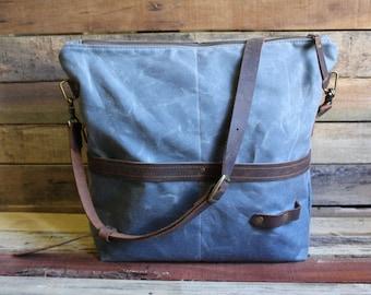 Waxed Canvas Messenger bag, Waxed Canvas Tote, Waxed Canvas bag, Large Zipper tote, large canvas tote, crossbody messenger bag, laptop bag