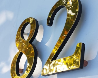"Brass Block 3D house numbers  6""/150 mm in Garamond font,   lacquered, standoff/floating fitting o"