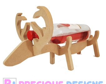 Reindeer Bottle Holder (Wood Wine Xmas Christmas centre piece)