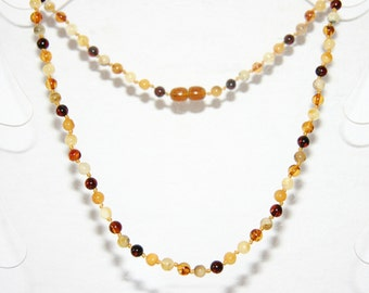 Multi color round beads Baltic amber adult necklace 109