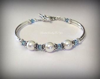 FOUR Piece Bridesmaid Gift Set: Bridesmaid Bracelet, Bridal Jewelry, Bridesmaid gift, Wedding Party, Bridesmaid Jewelry, Wedding Jewelry