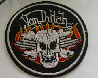 Patch large circle shull gothique flames Von Dutch embroidered pattern fabric