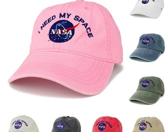 Nasa I NEED MY SPACE Meatball Insignia Embroidered Cotton Cap - 8 Colors