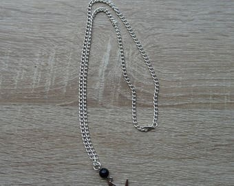 Origami birds silver necklace and black beads
