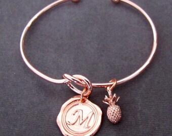 Rose gold bangle,Rose gold initial bracelet,stacking bracelrt,rose gold jewelry,Pineapple bracelet,Monogram Bracelet,Free Shipping USA