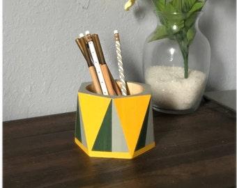 Hunter green and yellow pencil holder, Desk supplies organizer