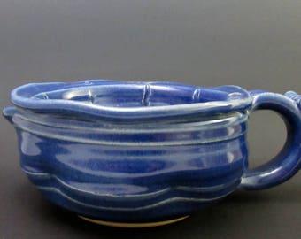 Stoneware Shaving Scuttle, Cobalt Blue Semi-Matte