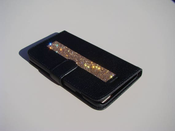 iPhone 8 Plus Wallet / iPhone 7 Plus Wallet Rose Gold Rhinestone Crystals on Black Wallet Case. Velvet/Silk Pouch bag Included, .