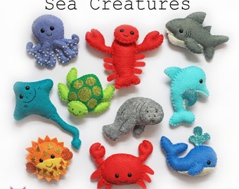 Sea Creatures felt softies pdf pattern, sew sweet, instant download, crab, dolphin, fish, wool felt, sewing, sew your own, template, mobile