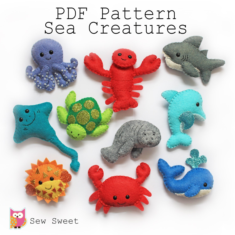 Sea Creatures felt softies pdf pattern sew sweet instant