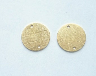2 pcs Vermeil , brushed, round finding with 2 holes, connector ,link ,(11mm)