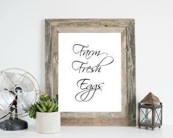 Farm Fresh Eggs, Kitchen Printable, Farmhouse Kitchen Print, Farmhouse Kitchen Printable, Farm Eggs Print, Kitchen Art, Farmhouse Kitchen