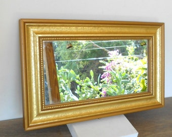 "Vintage Wall Hanging Mirror, Modern Vintage Wood Frame,Gold tone Mirror, Rectanlular Mirror,/12.5"" X 7.5""/"