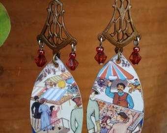Carnival earrings w/ reclaimed tin