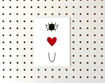 Screenprinted Valentines Card - Eye Heart U