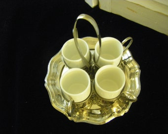 """VINTAGE 4 cup demitasse set with plate holder stamped """"Made in England""""."""
