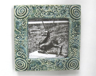 Organic Stamped 6x6 MUD Pi Decorative Handmade Ceramic Frame for 4x4 Picture
