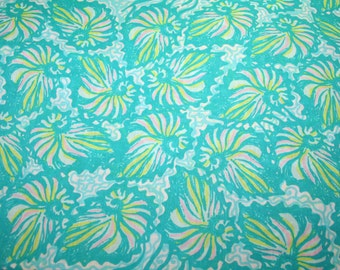 """Lilly Pulitzer fabric~2014 ~""""TURQUOISE TWIRLY"""" ~18"""" by 18""""~ 100% cotton"""